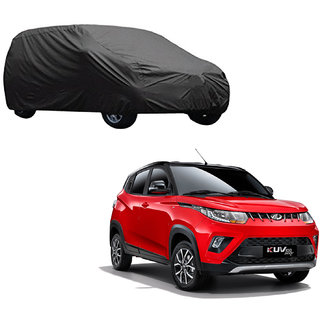 AutoRetail Mahindra KUV100 Grey Car Body Cover for 2019 Model (Triple Stiched, without Mirror Pocket)