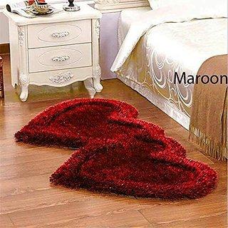 HomeStore-YEP Polyester Blend Non-Slip Heart Shape Shaggy Carpet Runner(Color - Maroon)