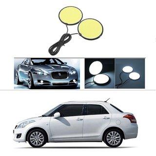 Car DRL LED COB Daytime Running Light Fog Lamp 70mm 2.75 Round White For Maruti Suzuki Swift Dzire (Old)