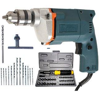 Tiger 10 mm Electric drill Machine With 41 Pcs Screwdriver Kit +13HSS Bits +1 Masonry Bit