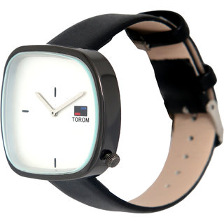 HIgh Quality Fashion casual Unisex square Black leather strap watch