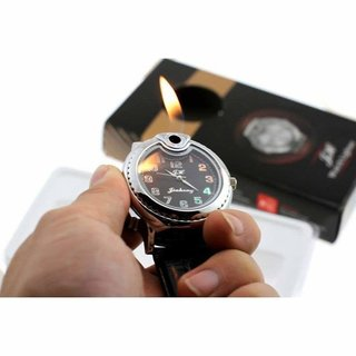 iBubble Golden Dial Wrist Watch with Refillable Butane Cigarette Lighter (FJL-138212) With Brown Strap