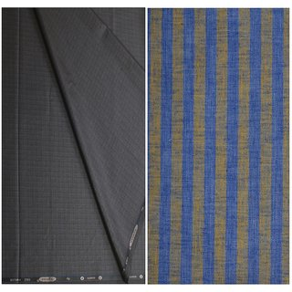Kundan Sulz Gwalior Men's Executive Pure Cotton Stripe Pattern Linen Shirt Fabric & Fancy Formal Navy Blue Color Shining Pattern Trouser Fabric Combo Set ( Pack of 1 Pant and Shirt Piece )