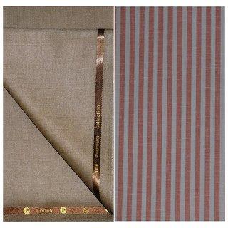 Kundan Sulz Gwalior Men's Executive Pure Cotton Linen Stripe Pattern Shirt & Fancy Soft & Smooth Light Golden Colour Trouser Fabric Combo Set ( 1 Pant Shirt Piece for Men )