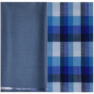 Kundan Sulz Gwalior Men's Executive Pure Cotton Checks Shirt & Fancy Blue Color Trouser Fabric Combo Set ( 1 Pant Shirt Piece for Men )