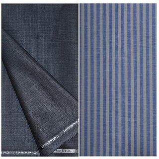 Kundan Sulz Gwalior Men's Executive Pure Cotton Stripe Pattern Linen Fabric & Fancy Black Colour Self Design Trouser Fabric Combo Set ( 1 Pant Shirt Piece for Men )