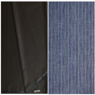 Kundan Sulz Gwalior Men's Executive Pure Cotton Stripe Pattern Linen Shirt Fabric & Fancy Formal Black Color Shining Pattern Trouser Fabric Combo Set ( Pack of 1 Pant and Shirt Piece )