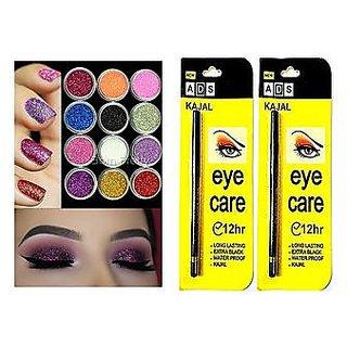 Multi Color Glitter Eye Nail Pigment  NEW 12 PCS.+ ADS  LONG LASTING BLACK WATER PROOF KAJAL - 2 Pc