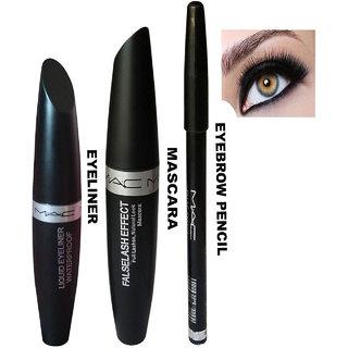 Liquid Eyeliner , Mascara Eyebrow Pencil Pack of 3
