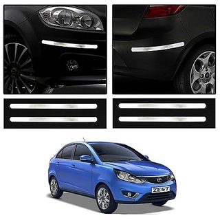 Trigcars Tata Tiago Car Chrome Bumper Scratch Potection Guard