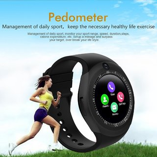 Lucrane Smart Watch Y1S Round Bluetooth Smartwatch with Camera SIM Card  Slot Compatible with Samsung LG Sony HTC