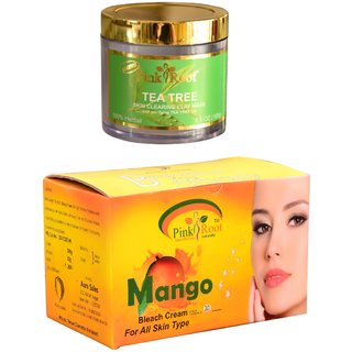 Pink Root Mango Bleach 250gm and Pink Root Tea Tree Skin Clearing Clay Mask 100gm