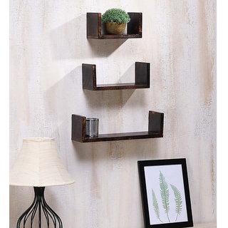 Onlineshoppee Wooden Handicraft Wall Decor Brown Designer Wall Shelf Pack of 3