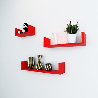 Onlineshoppee Wood Handicraft Wall Decor Designer Wall Shelf Pack of 3 Color-Red