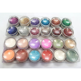 SUPER BRIGHT MULTI COLOR GLITTER SHIMMER DUST FOR BEAUTY QUEEN Pack of 24