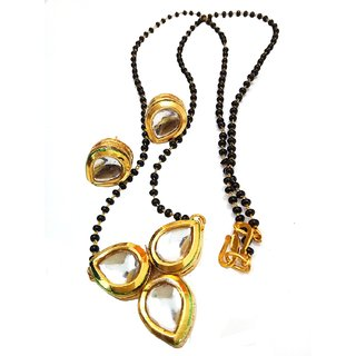 Ds Gold Plated Kundan Polki Black Beads Chain Mangalsutra And Earrings For Women