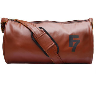 Buy Fashion 7 Leatherite Tan Gym Bag Online - Get 67% Off
