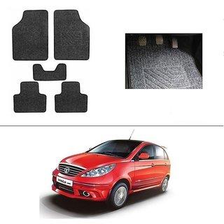 KunjZone Best Quality Set of 5 Carpet Black Car Foot Mat / Car Floor Mat for  Tata Vista Tech