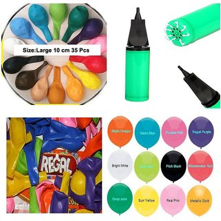Set Of 35 Colourful Balloons For Birthday Party Festival Diwali Christmas New Years Celebrations With Pump