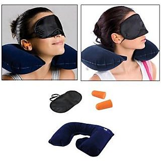 3 In1 Travel Neck Inflatable Air Pillow Eye Mask And Ear Plug Combo