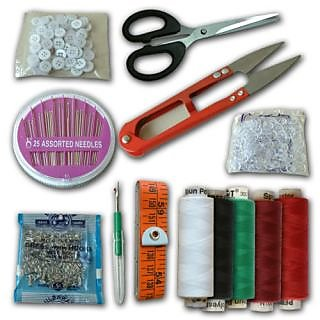 PACK OF 9 EMERGENCY TRAVEL SEWING KIT NEEDLES BUTTONS CUTTER TAILOR TAP THREADS
