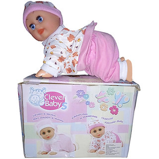 OH BABY MUSICAL POWER WITH Cute Baby Doll Toy Clever Baby Laugh Music Dance Learn Crawl Funny Toy PINK COLOR SE-ET-22