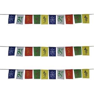 Set Of 3 Tibetan Om Mani Padme Hum Prayer Multicolor Velvet Small Flags For Your Bike
