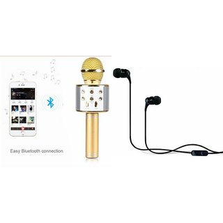 Roar Q7 Portable Wireless Karaoke Microphone Handheld Condenser Microphone Inbuilt Speaker Microphone and Headset (C100 Headphones Devil Horn In-Ear Earphones Creative Earbuds With Mic )for SONY xperia x dual