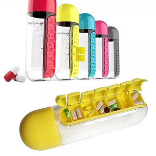 Sterling Pill Box Organizer With Water Bottle Weekly Seven Compartments (600ml)