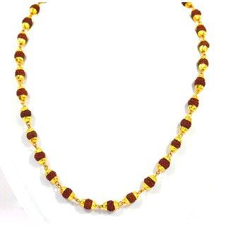Rudraksha Mala Gold Plated Hindu Religious Mala 24 Inch Length