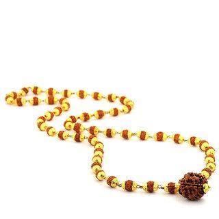 KJesar zems Gold Plated Panch Mukhi Rudaraksh Mala