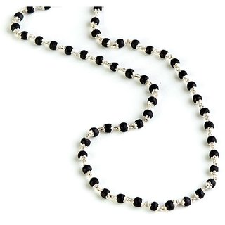 only4you Black Tulsi Silver Cap Mala 108+1 Breads
