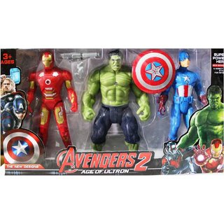 Shribossji Iron Man, Hulk  Captain America Trio Pack Big Size With Exclusive Weapons For Kids (Multicolor)