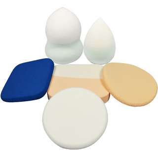 SultanAccessories Imported Sponge Makeup Powder Puff For Cream, Powder and Liquid Applications Blender Puff - 6 Pcs Random Colour