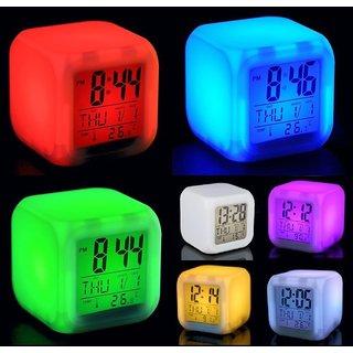 Advance 7 color change Led Alarm Clock with calendar, Temperature Desktop Digital Clock Table Backlight Decoration With multi Color