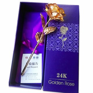 24K Gold Plated Golden Rose with Unique Gift Box - Best Gift for Love Ones