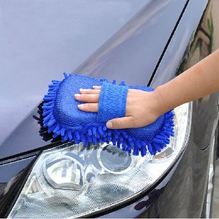 Aeoss Car Washing Sponge with Microfiber Washer Towel Duster For Cleaning Car. Bike Vehicle (BLUE
