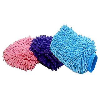 Generic New 2pcs Ultrafine Fiber Car Wash Glove Microfiber Mitt Auto Cleaning Gloves Washer  Cleaning For Car