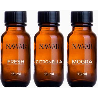 NAWAB essential aroma Diffuser oil(Jasmine,Citronella,Eucalyptus-15ml each)