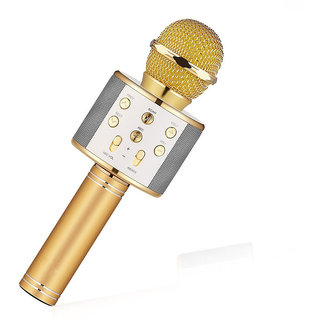 SEGGO Wireless WS-858 Bluetooth Microphone Recording Condenser Handheld Microphone Stand With Bluetooth Speaker Audio Recording For Cellphone Karaoke Mike (Gold)