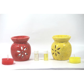 AuraDecor Set of Two Oil Burner with Tealights  3ml Aroma oil