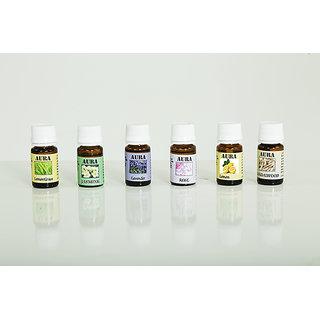 AuraDecor Set  of 5 Aroma Oil ( Lavender, LemonGrass, Jasmine, Rose, Sandalwood)