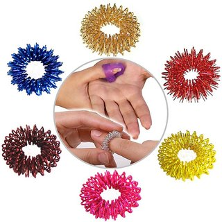 Acupressure Massage Sujok Ring in Assorted Colors Set of 6 (Free Thumb Pad)