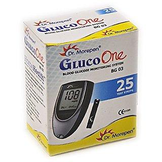 Dr Morepen BG-03 Blood Glucose Test Strips, Pack of 25 (Only Strips, No Glucometer)