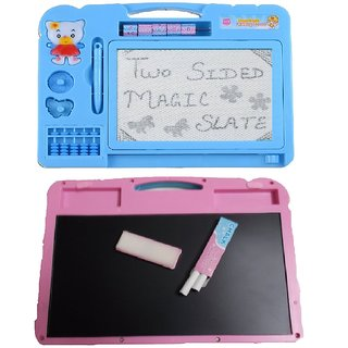combo of Double Side Magic Slate with Black Slate Chalk Board for Kids (Multicolor)
