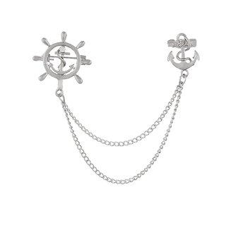 Men's Corsage Lapel Chain Pin Brooch Anchor & Wheel Silver Suit Shirt Double Tassel Long Chains