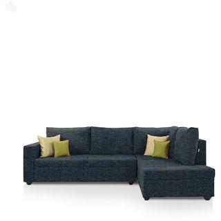 Buy Earthwood Lounger Sofa L Shape Design With Dark Blue Fabric