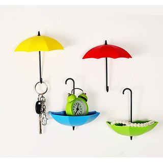3Pcs Plastic Colorful Umbrella Shape Wall Hook Small Key Holder No of Pieces 1
