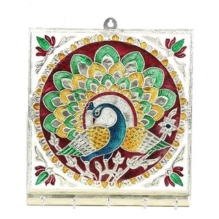 Satya Meenakari Key Holder Peacock Design Square Shape - 5 Hooks