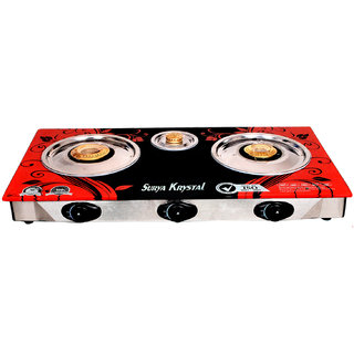 Surya Krystal 3 Burners Automatic Glass Top Gas Cooktop